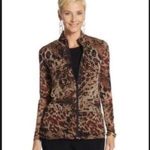 NWT Chico's size 1 embellished jacket chetah print